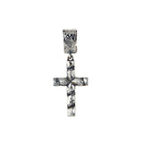 Silver Pendant Hammered SPIRAL CROSS Plain
