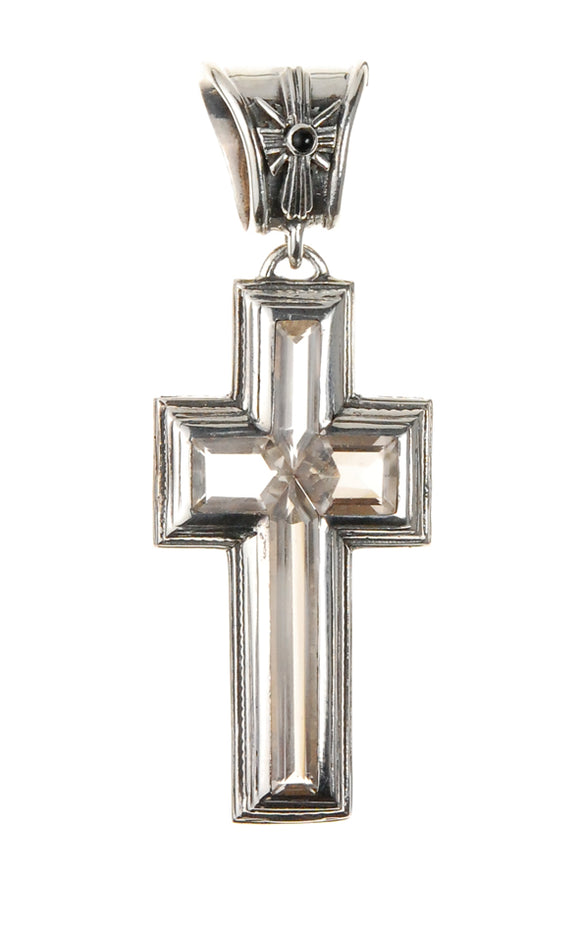 Silver Pendant ELFIN FRAME CROSS with Stones