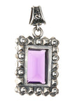Silver Pendant Rectangular with Pyramides Sides and Pyramides Top and Stone