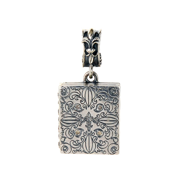 Silver Pendant Medaillon GARDEN AT NIGHT engraved