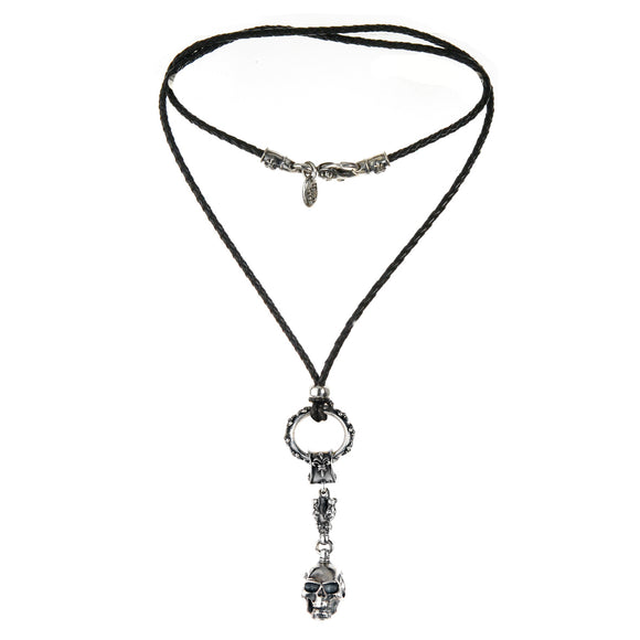 Silver Leather Neckband and Pendant with Lilies Ring and Small Crown and SKULL  L