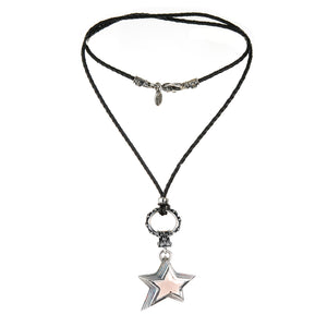 "Silver Leather Neckband with Lilies Ring and ""Shooting Star"""