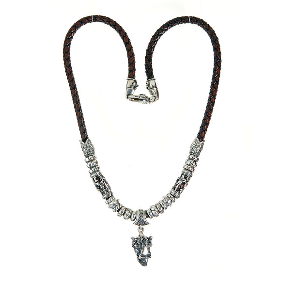 Silver Leather Neckband CROWNED SKULL with Crosstubes and Fishheads