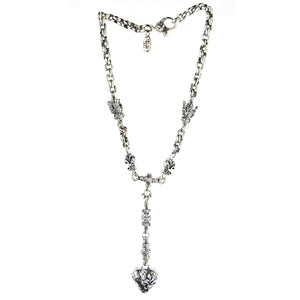 Silver Fetishchain Dragon HEART with Lilies and Crowns