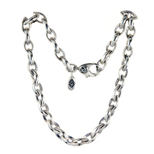 "Silver ""Navette"" Chain L Heavy and Hammered"