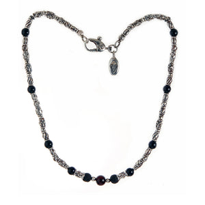 "Silver Neckchain Mini ""Tubes"" Decor and Stone beads"