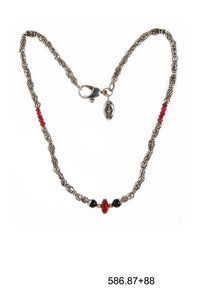 Silver Necklace ELFIN TUBES with Garnet Rock and Rubies