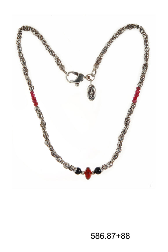 Silver Necklace Elfin´Tubes with Garnet Rock and Rubies