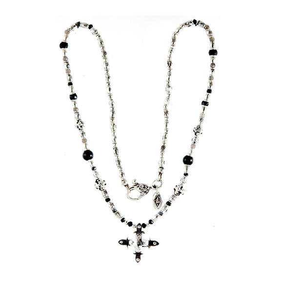 Silver Necklace Tubes with SMITH CROSS Body and Beads and Blades Cross Balls