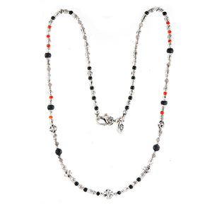 Silver Neckchain Rough Tubes with Blades Cross Balls and Beads