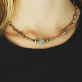 Silver Neckchain  Rough TUBES  GOLD plated and Stone ROCK and Fine Stones