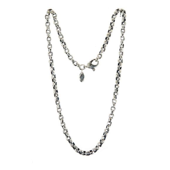 Silver Neckchain PEA s Chain S Rough Facetted