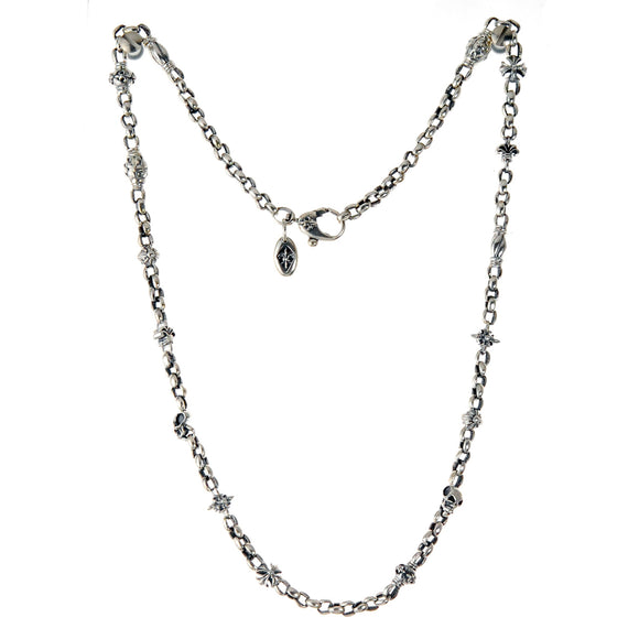 Silver Neckchain XXS PEAS FETISHCHAIN  mini Skull  Lilies  Balls and Morning Star