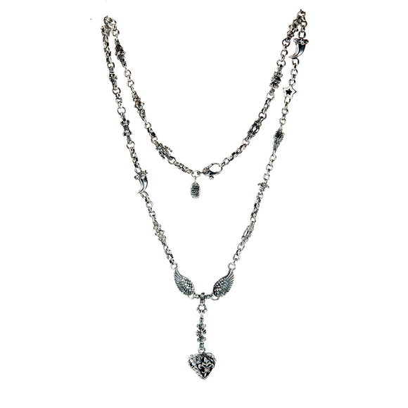Silver Neckchain Fetishchain Horns Crowns Pinballs Sprouts Stars Wings and Dragon Heart