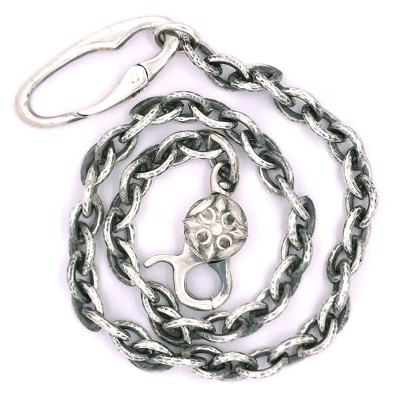 Silver Wallet or Key Chain Hammered NAVETTE Chain CRESCENT STAR Lock