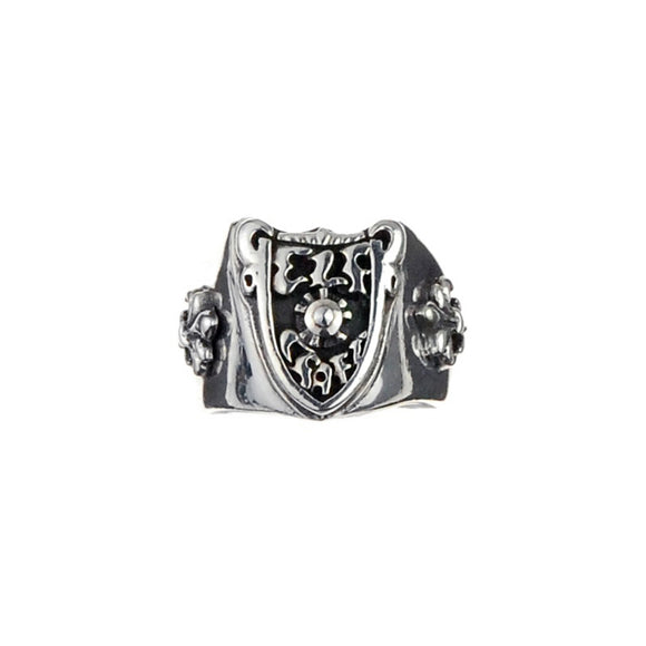 Silver Ring ElfCraft Shield with Meteorit and 2 Lilies Band