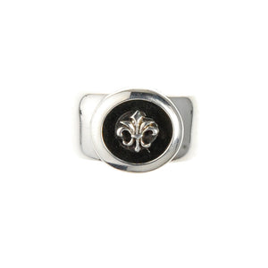Silver Ring CLASSIC with Round ff Onyx plus LILY