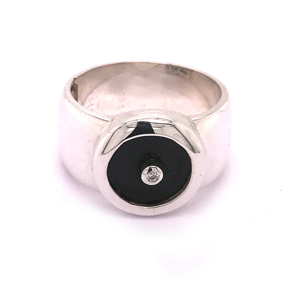 Silver Ring CLASSIC with Round ff Stone Plate plus STONE