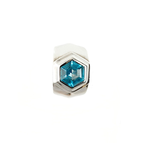 Silver Ring Hexagon FF Stone