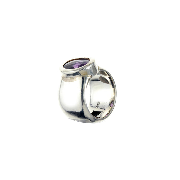 Silver Ring Plain with Oval Round Stone