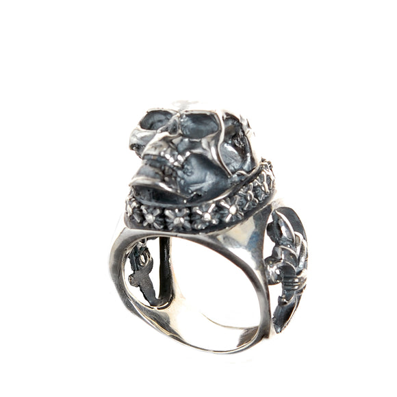 Silver Ring SKULL on Open Lily Band