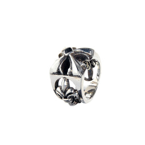 Silver Ring SPROUTS CROSS L open and Stone