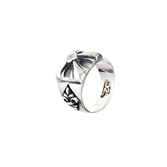 Silver Ring Sprouts Cross with Lily Band