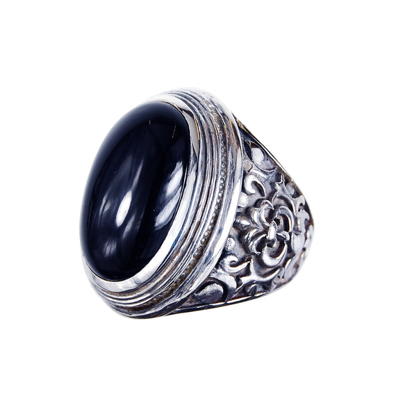 Silver Ring Elfin Oval GARDEN AT NIGHT Stone Cabochon