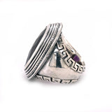 Silver Ring Oval Elfin´Frame and Stone with Meander Band