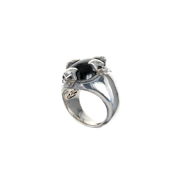 Silver Ring SKULL Stone Holder Crown