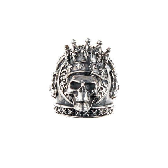 Silver Ring MAGIC  Crowned SKULL