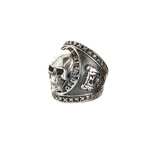 Silver Ring MAGIC with Skull and Shield with METEORITE