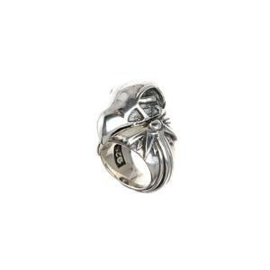 Silver Ring EAGLE SKULL with MorningStar Band