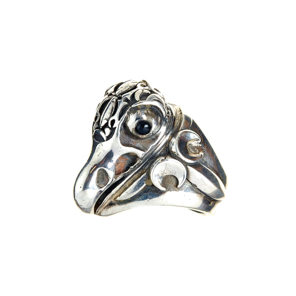 Silver Ring EAGLE SKULL GaN and Crescent Star Band