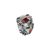 Silver Ring BAROQUE and LILIES and Checkered Stone