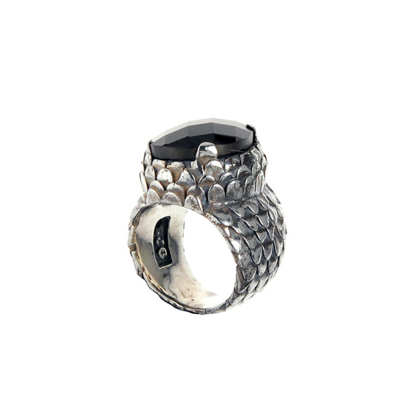 Silver Ring Dragon Scales with Oval Onyx