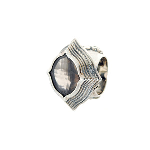 Silver Ring BAROQUE Elfin´Frame with Plain Lily Band