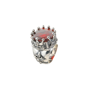"Silver Ring ""Barock"" and ""Crown"" and Checkered Stone"