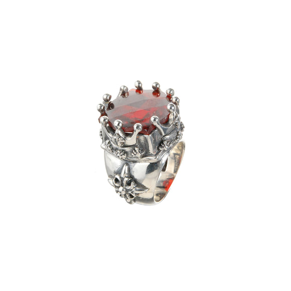 Silver Ring BAROQUE and CROWN and Checkered Stone