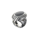 Silver Ring DRAGON SCALES with Oval Stone