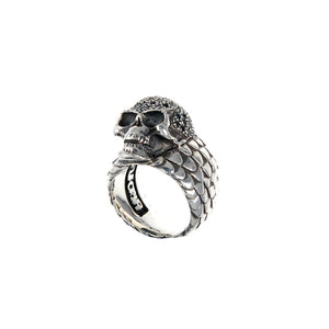 Silver Ring SKULL Pave and DRAGON SCALES Band