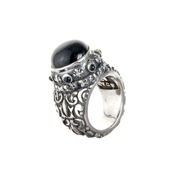 Silver Ring Garden at Night Band with M-Star Holder and  Stones