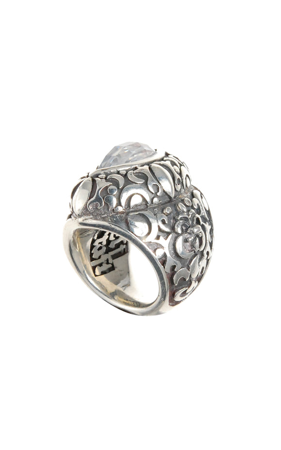 Silver Ring NAVETTE Stone GARDEN AT NIGHT Holder and Band