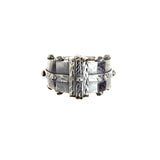 Silver Ring BOUND Facetted Body Rivets Hammered Bands tri