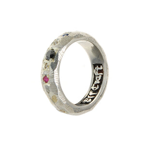 "Silver Ring ""Sun and Planets"" facetted"