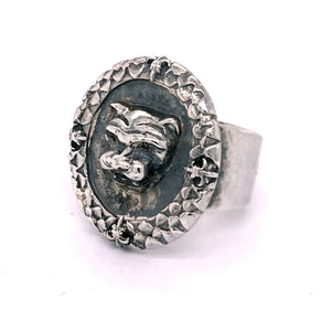 "Silver Ring ""Lion Coin"" on Rough Band"