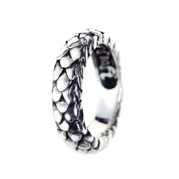 Silver Ring DRAGON SCALES Band