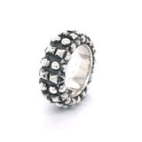 "Silver Ring ""Pyramides and Balls""  Double Band"