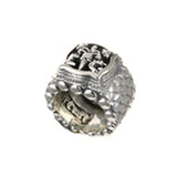 Silver Ring DRAGON SCALES Band with BAROQUE and LLILY Open