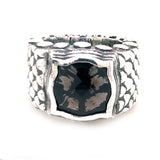 Silver Ring DRAGON SCALES Band with BAROQUE Holder